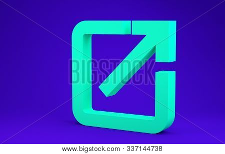 Green Open In New Window Icon Isolated On Blue Background. Open Another Tab Button Sign. Browser Fra