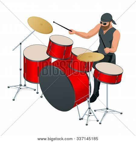 Drummer Behind The Drum Set. Rehearsal Base, Drummer Playing The Drums Set Isolated. Front View