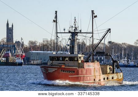 New Bedford, Massachusetts, Usa - November 30, 2019: Commercial Fishing Boat Freedom During Sea Tria