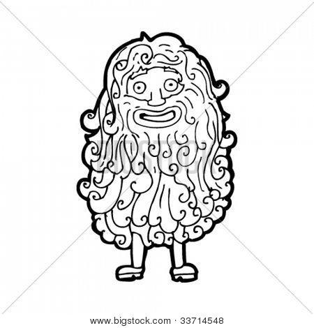 cartoon hairy beard man