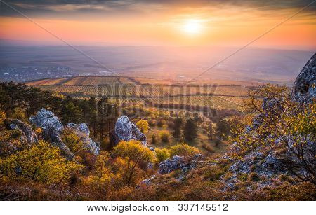 Colorful Autumn Sunset Over Vineyards As Seen From Rocky Hill In Palava Protected Area Near Mikulov