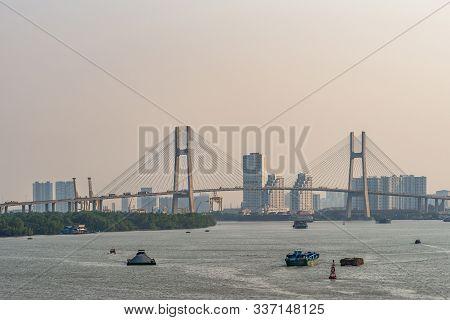 Ho Chi Minh City, Vietnam - March 13, 2019: Sunset Sky Shot Over Song Sai Gon River. Long Shot On Ph