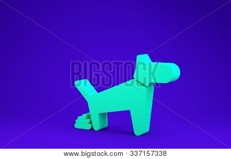 Green Dog Pooping Icon Isolated On Blue Background. Dog Goes To The Toilet. Dog Defecates. The Conce