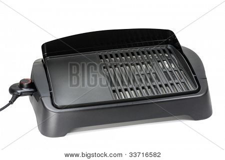 Indoor and outdoor barbecue grill with a ribbed and flat hotplate