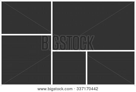 Templates Collage Five Frames Photos. Poster Frame Mockup. Empty Vector Frames. 5 Parts Photo.
