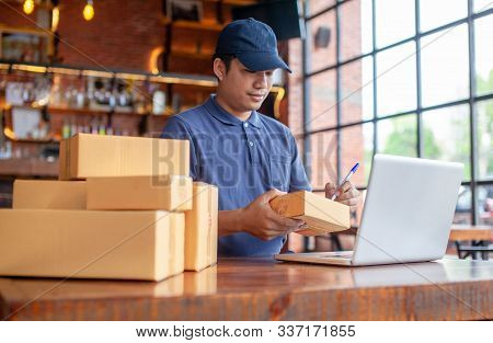 Shopping Commercial Online Internet Concept,startup Small Business Owner Working With Computer At Wo