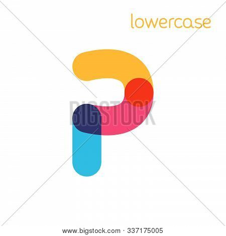 Overlapping One Line Lowercase Letter P Logotype. Curve Rounded Font. Vibrant Glossy Colors.