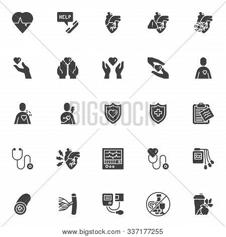 Heart Health Care Vector Icons Set, Modern Solid Symbol Collection, Filled Style Pictogram Pack. Sig