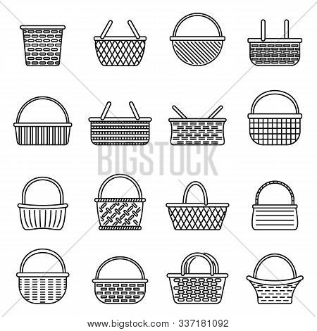 Picnic Wicker Icons Set. Outline Set Of Picnic Wicker Vector Icons For Web Design Isolated On White