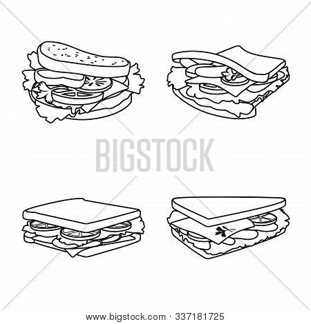 Vector Illustration Of Fastfood And Lunch Sign. Collection Of Fastfood And Snack Stock Symbol For We