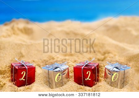 2020 Happy New Year Background, Holidays Gift On The Tropical Beach Near Ocean, Hawaii