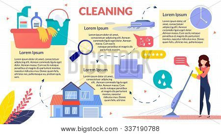House Cleaning Commercial Service Flat Vector Advertising Poster, Infographics Template With Sample