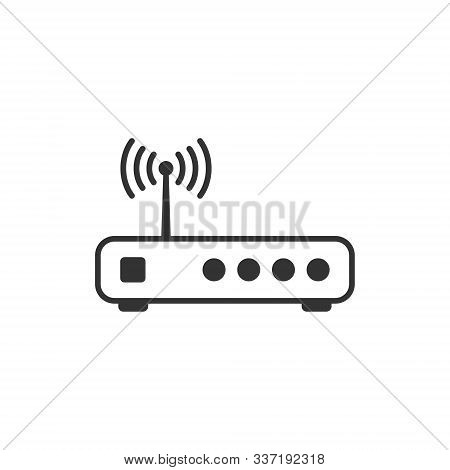 Wifi Router Icon In Flat Style. Broadband Vector Illustration On White Isolated Background. Internet