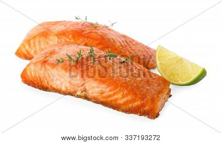 Delicious Roasted Fish With Thyme And Lime Isolated On White