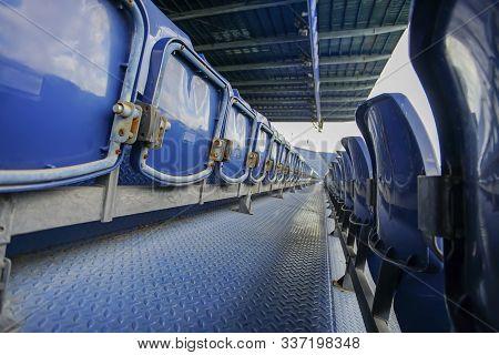 Empty Seats In Football Stadium, Stadium Seats, Stadium Stand In Thailand.
