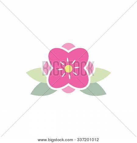 Simple Beautiful Pink Flower Vector Logo And Icon