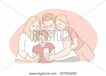 Family Bonding, Happy Childhood, Parenthood Concept. Relatives Taking Selfie Together, Capturing Imp