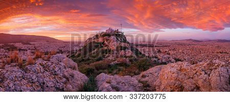 Morning  View Of Athens From One Of The Summits Of Lycabettus Hill, Greece.