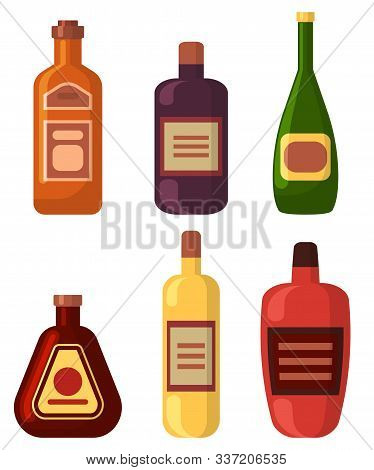 Alcoholic Drinks Set, Isolated Bottles Of Beer, Champagne And Liqueur. Flat Style Containers With Em