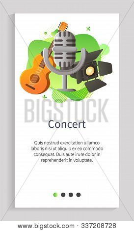 Concert Performance Vector Musical Instrument Mike Vintage Microphone And Spotlights For Stage Decor