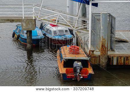 Menumbok,sabah,malaysia-july 29, 2019:water Taxi Service,motor Boats In Menumbok Terminal Ferry,saba
