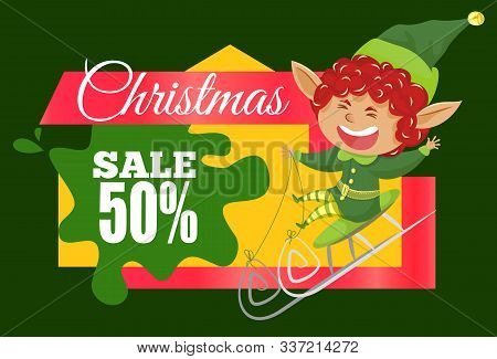 Christmas Sale 50 Percent Off, Promotional Banner With Laughing Elf And Calligraphic Inscription. Sm