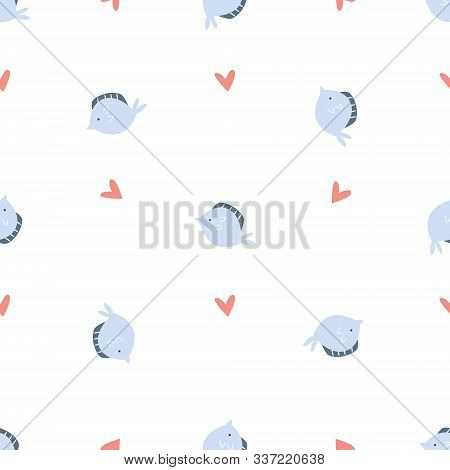 Vector Seamless Pattern With Fluke Fish And Hearts