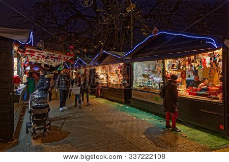 Lyon, France, December 2, 2019 : The Essential Carnot Square Christmas Market Returns Once Again Ani