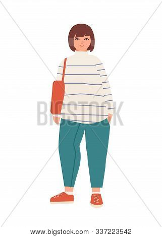 Attractive plus size woman flat vector illustration. Beautiful curvy lady in casual attire cartoon character. Stylish female model isolated on white background. Body positive concept. poster