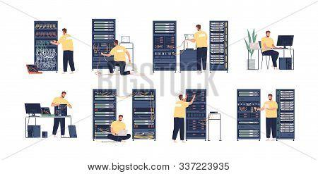System Administrator Flat Vector Illustrations Set. Computer Repair, Upkeeping Server, Adjusting Net