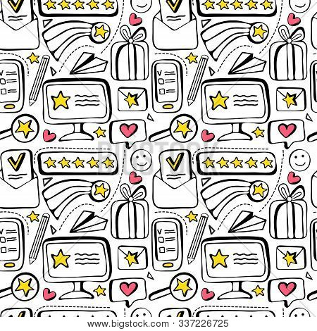 Seamless Pattern Customer Feedback, Positive Review. High Rating In Application. Hand Drawn Doodle B