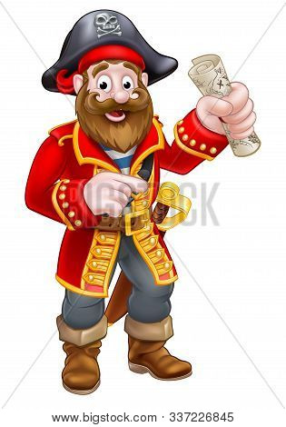 Pirate Cartoon Character Captain Pointing Holding A Treasure Map