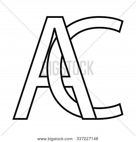 Logo Ac Icon Sign Two Interlaced Letters A C Vector Logo Ac First Capital Letters Pattern Alphabet A