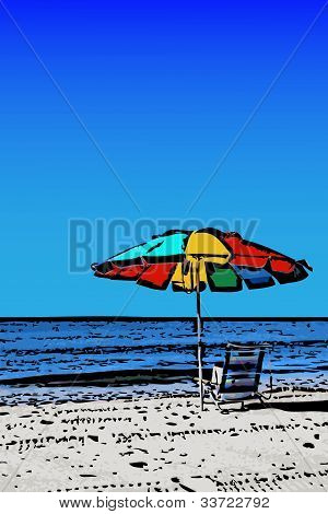 Colorful Beach Umbrella Illustration