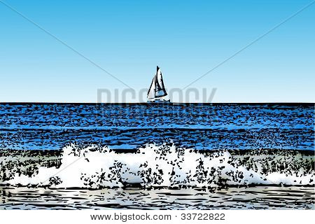 Sailboat with Crashing Surf Illustration