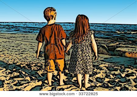 Siblings on Beach Illustration