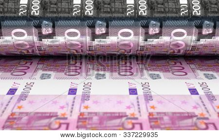 A Concept Image Showing A Sheet Of European Euro Notes Going Through A Roller In Its Final Phase Of