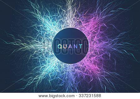 Quantum Computer Technology Concept. Deep Learning Artificial Intelligence. Big Data Algorithms Visu