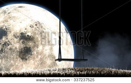 A Concept Image Showing An Empty Childrens Swing On A Grassy Hill At Night In Front Of A Full Moon A
