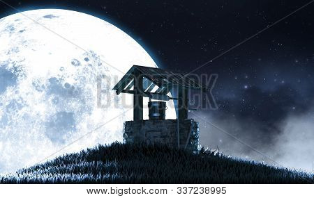 A Concept Image Showing An Old Wishing Well On A Grassy Hill At Night In Front Of A Full Moon And St