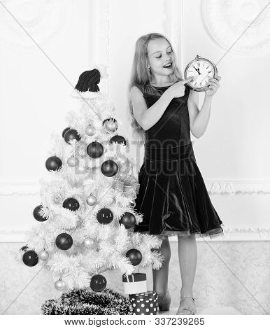 Girl Kid Santa Hat Costume With Clock Counting Time To New Year. How Much Time Left. Last Minute Til