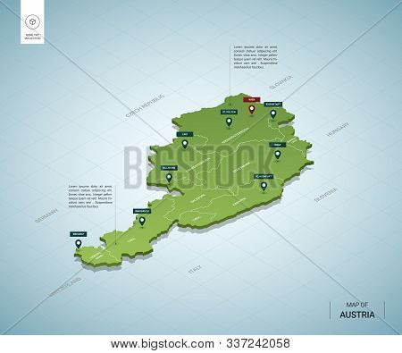 Stylized Map Of Austria. Isometric 3d Green Map With Cities, Borders, Capital Vienna, Regions. Vecto