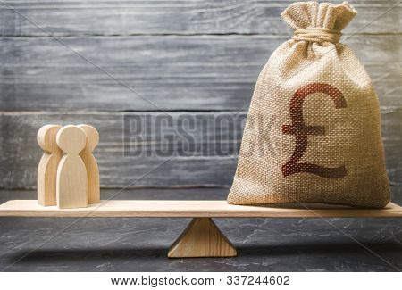 Pound Sterling Gbp Symbol On Money Bag And People On Scales. Concept Attracting Investment, Business