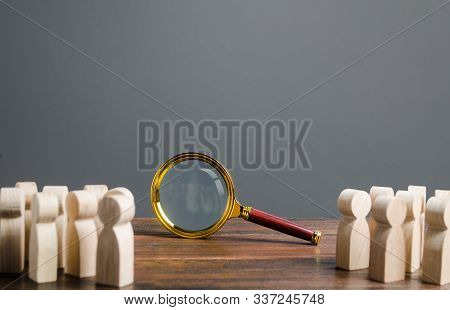 People Looking At Big Magnifying Glass. Search And Tracing Concept, Find Out The Truth, Solution To