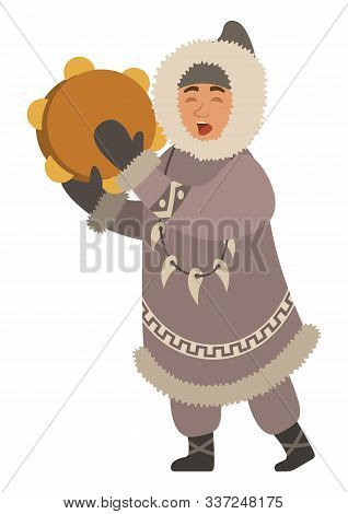 Eskimo Singing Songs And Playing Traditional National Musical Instrument. Isolated Inuit Wearing Thi
