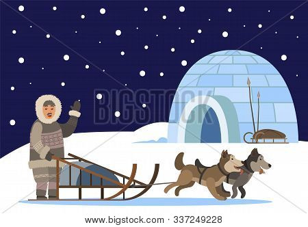 Arctic Person Using Sledge With Sled Dogs Traveling To Settlement Of Inuits. Character Waving Hand T