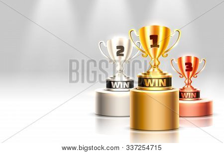 Stage Podium With Lighting, Stage Podium Scene With For Award Ceremony On Gray Background.