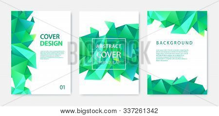 Vector Set Of Triangle Polygonal Abstract Background, Facet Crystal Covers, Flyers, Brochures. Color