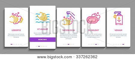 Hand Healthy Hygiene Onboarding Mobile App Page Screen. Hand Protection, Washing With Anti Bacterial