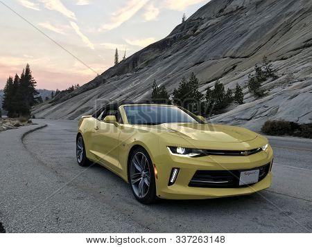 Yosemite Valley National Park, Usa. Nov 2017: Chevrolet Camaro Convertible At Sunset